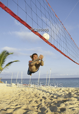 sand exercising volleyball Stock Photo