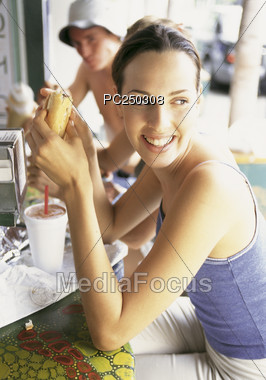 hospitality fastfood happiness Stock Photo