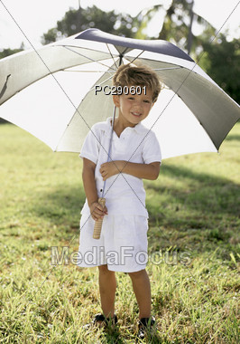 child outdoor umbrella Stock Photo