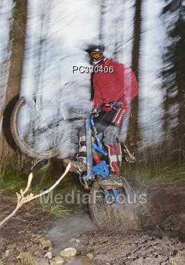 mountain jumping male Stock Photo