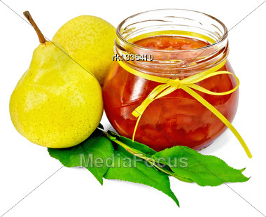 Pear Jam In A Glass Jar With A Yellow Tape, Fresh Pears, Twig With Leaves Isolated On White Background Stock Photo