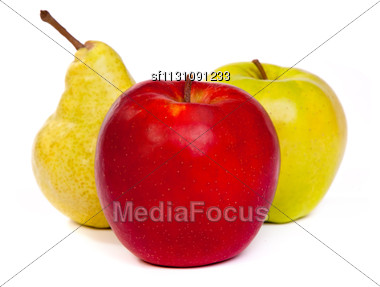 Pear And A Red Apple And A Green Apple Isolated On A White Background Stock Photo