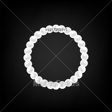 Pearl Necklace Isolated On Gradient Black Background Stock Photo