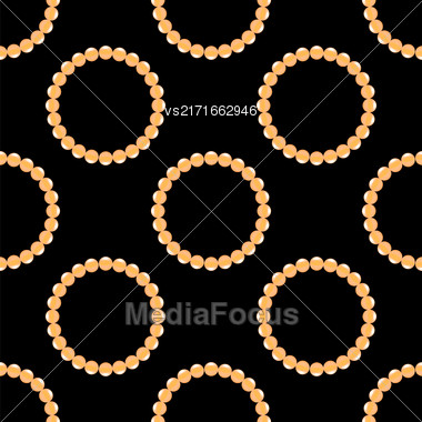 Pearl Necklake Seamless Patttern On Black. Natural Bjoutetie Background Stock Photo