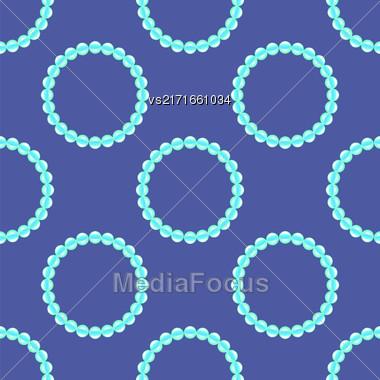 Pearl Necklake Seamless Patttern On Blue. Natural Bjoutetie Background Stock Photo