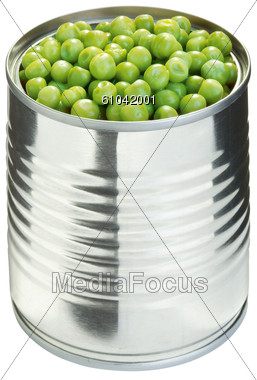Peas In A Can Stock Photo