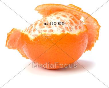 Peeled Mandarin Isolated On White Stock Photo