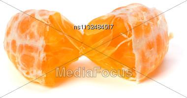 Peeled Mandarin Segment Isolated On White Background Stock Photo