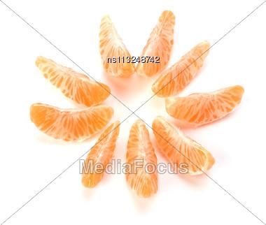 Peeled Mandarin Segments Isolated On White Background Stock Photo