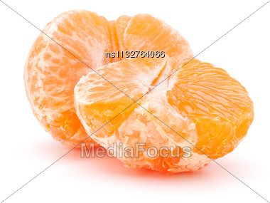 Peeled Tangerine Or Mandarin Fruit Half Isolated On White Background Cutout Stock Photo