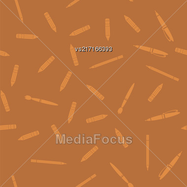 Pen And Pencil Seamless Pattern Isolated On Orange Background Stock Photo