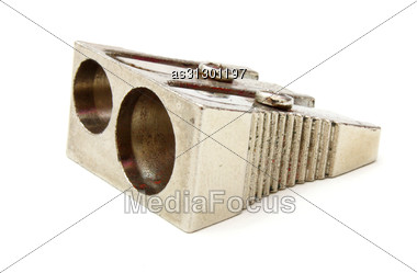 Pencil Sharpener On White Background. Stock Photo