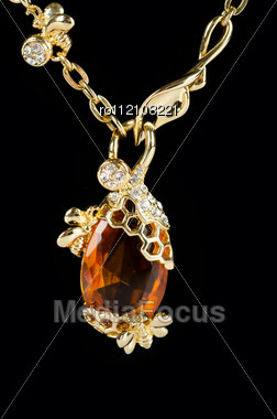 Pendant Closeup With Big Gem At Black Background Stock Photo