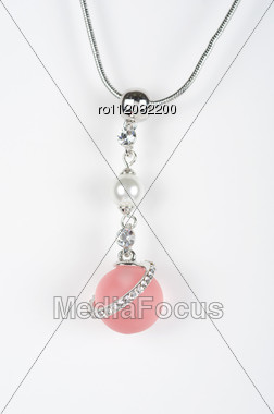 Pendant Of White Gold And Pink Pearl Stock Photo