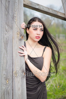 Pensive Young Woman In Gray Dress Posing Near The Wooden Fence Stock Photo