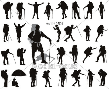 People With Backpack Vector Silhouettes Set. EPS 8 Stock Photo