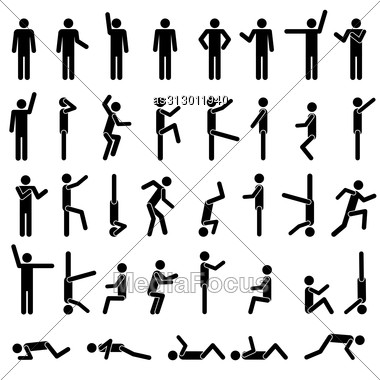 People In Different Poses Vector. Icon Sign Symbol Pictogram Stock Photo