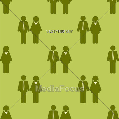 People Icon Seamless Pattern Isolated On Green Background. Symbol Of Persons Stock Photo