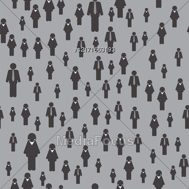 People Icon Seamless Pattern Isolated On Grey Background. Symbol Of Persons Stock Photo