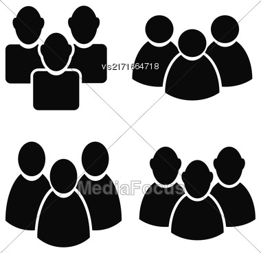 People Talking Icon Set Isolated On White Background. Symbol Of Persons Stock Photo