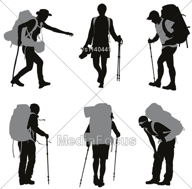 People With Backpack Vector Silhouettes Set Stock Photo