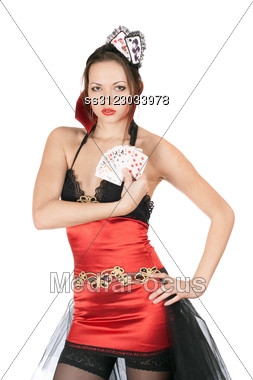Perfect Young Woman Wearing A Costume Card Queen Stock Photo