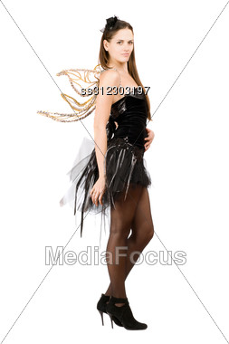Perfect Young Woman With Golden Wings. Stock Photo
