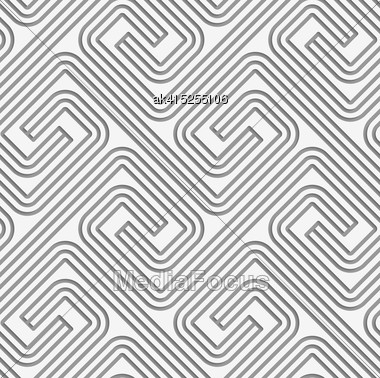 Perforated Striped Square Spirals Fastened.Seamless Geometric Background. Modern Monochrome 3D Texture. Pattern With Realistic Shadow And Cut Out Of Paper Effect Stock Photo