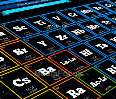 Periodic Table Of Elements. Vector Close Up Illustration Stock Photo