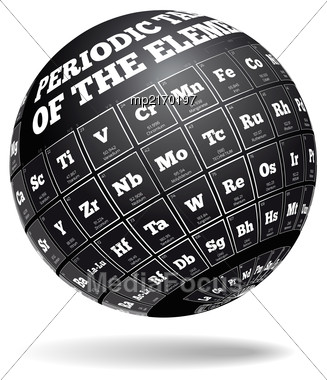 Periodic Table Of Elements. Vector Illustration Of A Spherical Shape Stock Photo