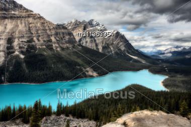 Peyto Lake Alberta Canada Emerald Green Color Stock Photo