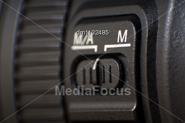 Photo Camera Lenses With Auto/Manual Focus Button Settings Stock Photo