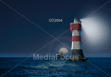 Photo-Composition - Lighthouse In The Sea at Night Stock Photo