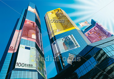 Photo-Composition - Skyscrapers With Euro Notes On Facade Stock Photo