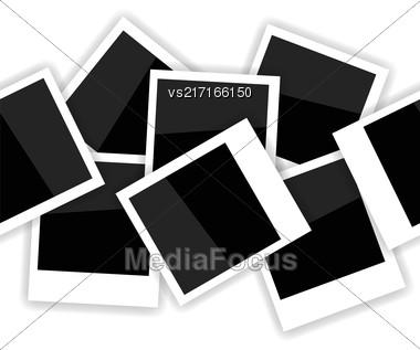 Photo Frame Seamless Pattern On White. Photo Album Background Stock Photo