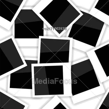 Photo Frame Seamless Pattern On White. Photo Album Background Stock Photo