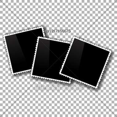 Photo Frames Isolated On Checkered Background. Checkered Pattern Stock Photo