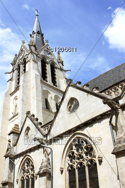 Photograph Of The Steeple Of The Church Holy-madeleine Of Montargis Stock Photo