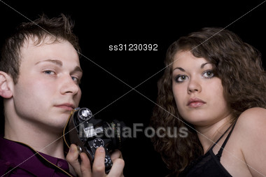 Photographer And Young Model. Stock Photo