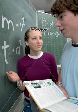 Physics College Students Stock Photo