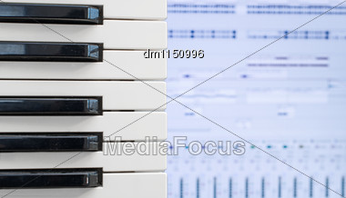 Piano Keys Over Recording Software Background Stock Photo