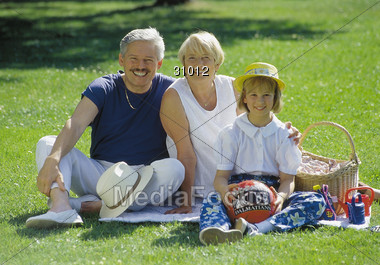 Picnic with Grandparents Stock Photo