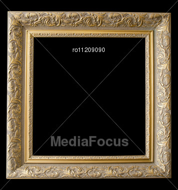 Picture Gold Frame With A Decorative Pattern On A Black Stock Photo