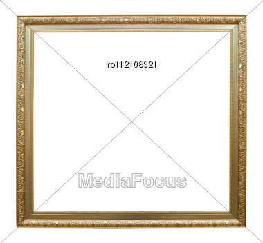 Picture Gold Frame With A Decorative Pattern On A White Stock Photo