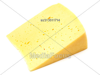 Piece Of Swiss Cheese Isolated On White Yellow Delicatessen Stock Photo