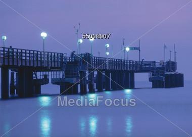 Pier at Night, Seebad Binz, Ruegen, Germany Stock Photo