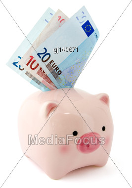 Piggy Bank With Euro Bills, Isolated On White Background Stock Photo