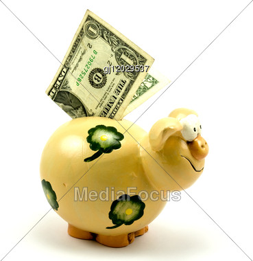 Piggy Bank With One Dollar Stock Photo