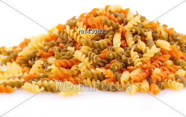 Pile Of Colorful Pasta On White Background Stock Photo