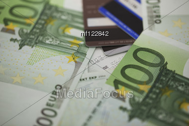 Pile Of One Hundred Euro Bills Stock Photo